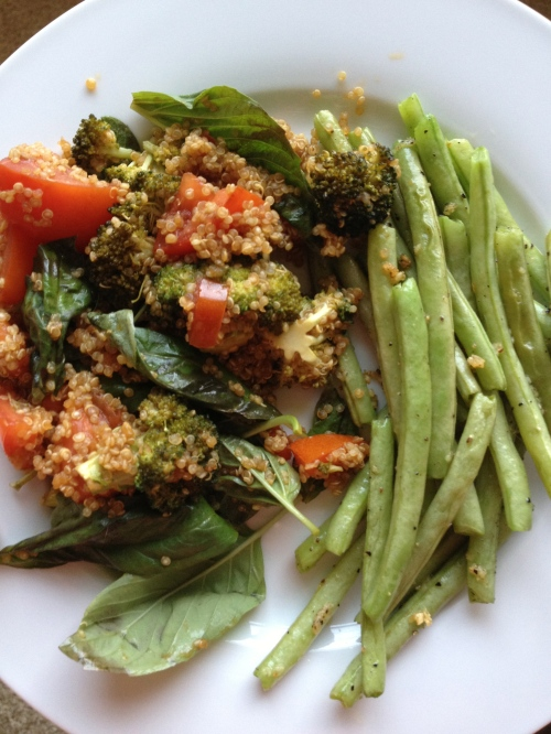 Roasted Vegetable & Basil Quinoa with Garlic Sauteed Green Beans.