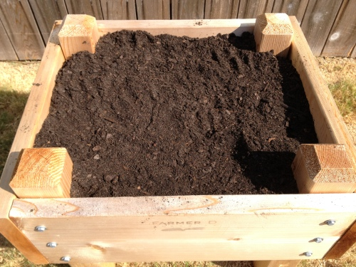 The 2 x 2 raised bed for our garden.